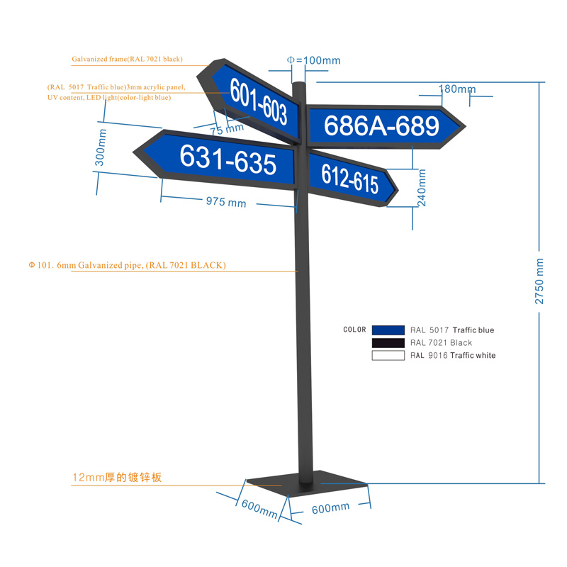 Outdoor floor stand highway indication signage