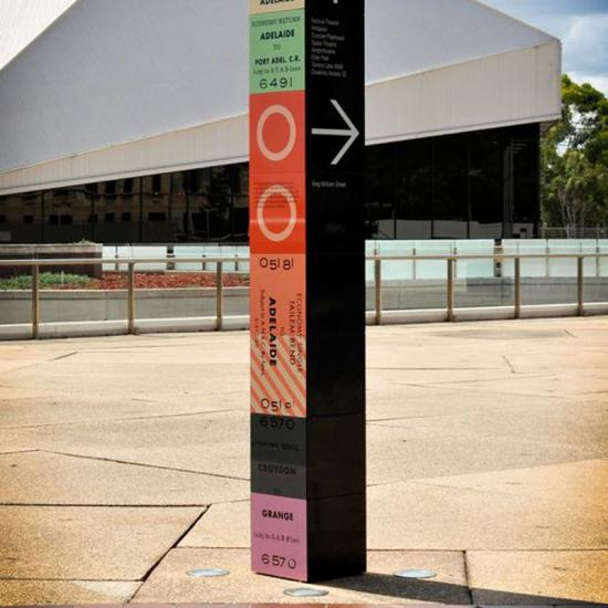 Wayfinding Colormixed Metal Material Pylon Signage